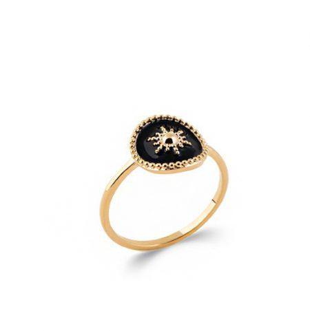 Bague plaqué or noir -Émail-
