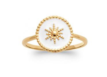 Bague plaqué or blanc -Émail-