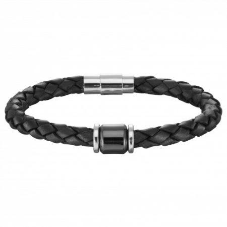 Bracelet Cuir Noir Céramique Acier