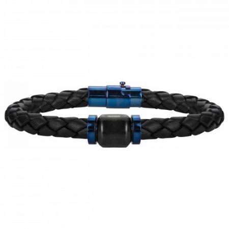 Bracelet Homme Cuir tressé Noir et Marron