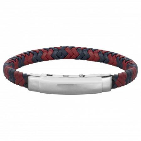 Bracelet Homme Cuir tressé Rouge et Bleu