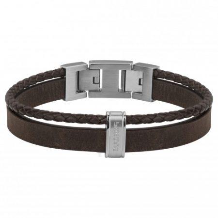 Bracelet Homme Cuir Marron et Acier