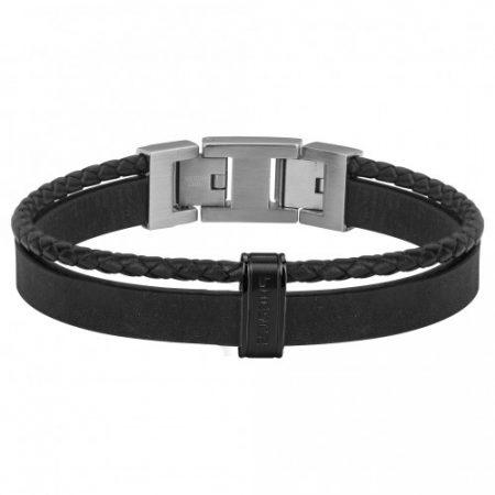Bracelet Homme Cuir Noir et Acier