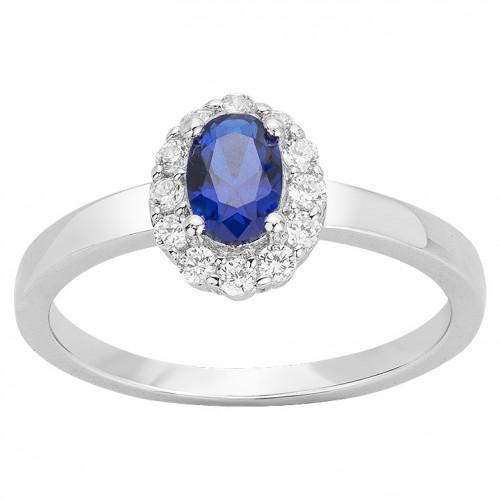 Bague Argent Rhodié Zirconium Spinelle Bleu Marguerite