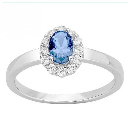 Bague Argent Rhodié Zirconium Spinelle Bleu Clair Marguerite