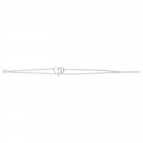 Bracelet Argent Rhodié Zirconium Coeur