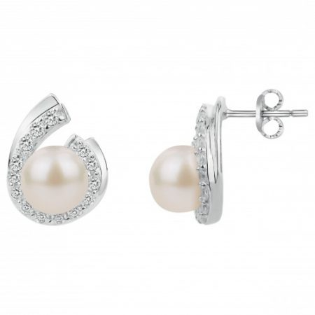 Boucles doreilles argent perle et zirconia