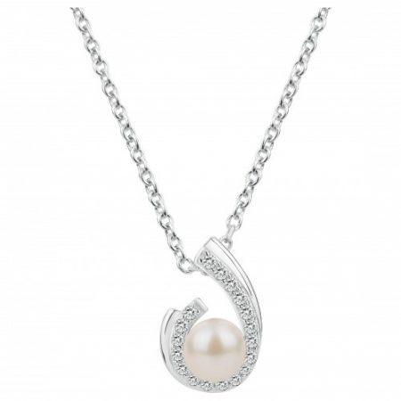 Collier Argent Rhodié Perle Naturelle Zirconium