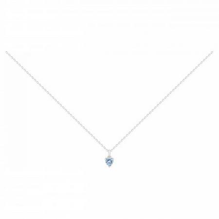 Collier Argent Rhodié Spinelle Bleu Coeur