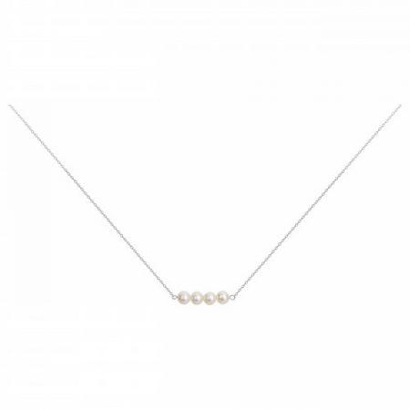Collier Argent Rhodié 4 Perle Naturelle