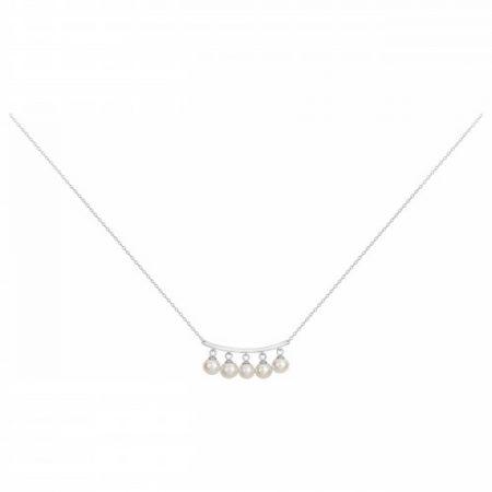 Collier Argent Rhodié 5 Perle Naturelle