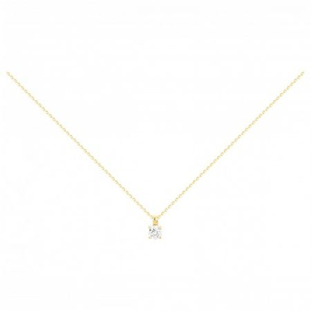 Collier Plaqué Or Solitaire Zirconia