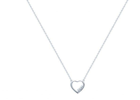 Collier argent et zirconia coeur