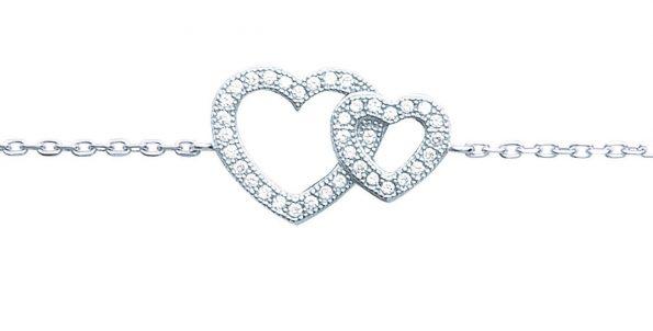 Bracelet argent zirconia coeur croisé